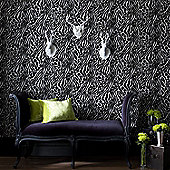 Graham & Brown Julien MacDonald Flock Easy Tiger Wallpaper - Black Silver