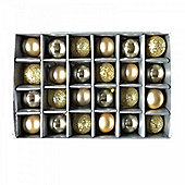 Set of 24 Mini Gold Coloured Bauble Christmas Tree Decorations