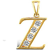 Jewelco London 9ct Gold CZ Initial ID Personal Pendant, Letter Z