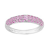 Gemondo Sterling Silver 0.80ct Natural Pink Sapphire Pave Set Half Eternity Style Ring