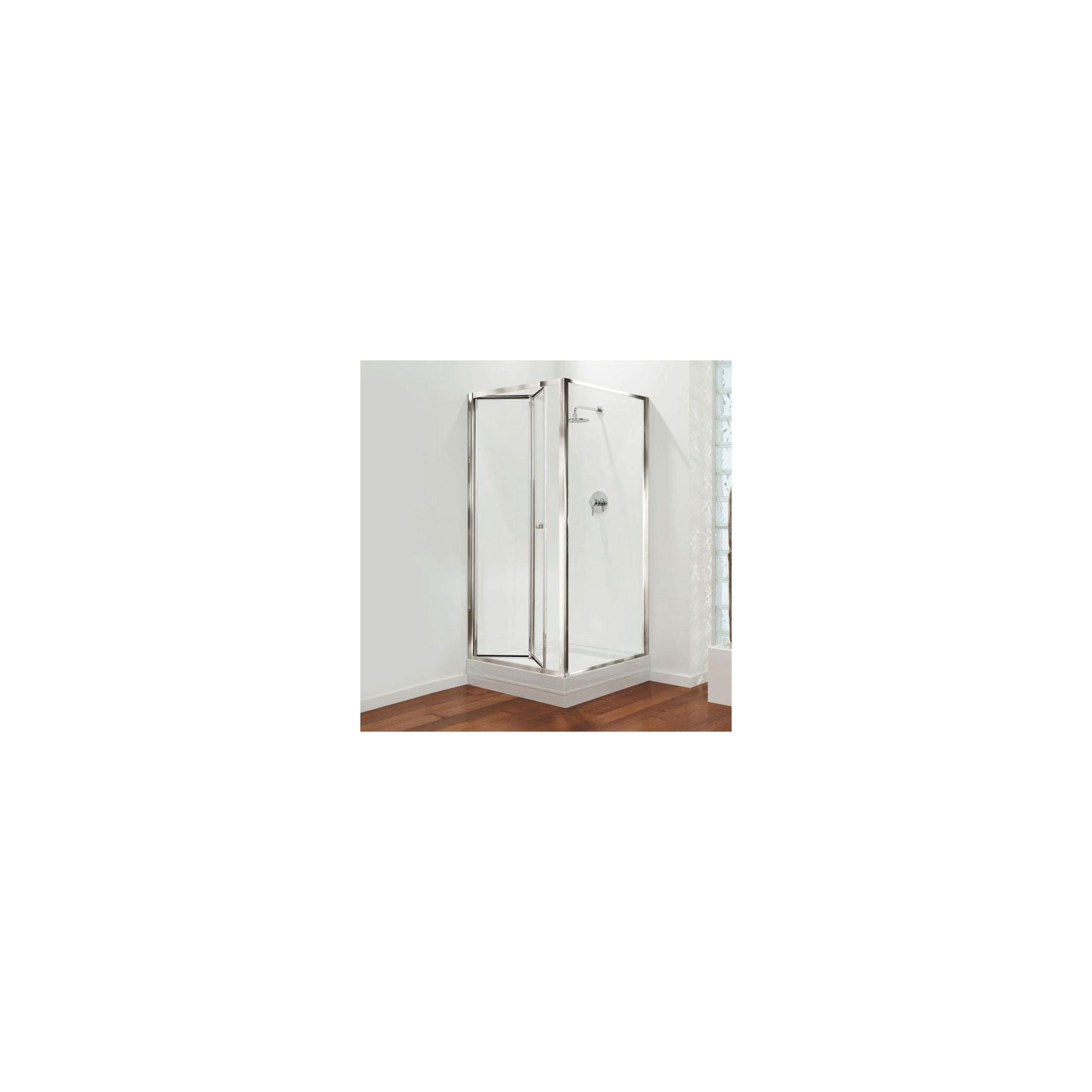 Coram GB Bi-Fold Door Shower Enclosure, 900mm x 760mm, Standard Tray, 4mm Glass, Chrome Frame at Tesco Direct