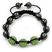 Hematite & Light Green Swarovski Crystal Beaded Shamballa Bracelet - Adjustable - 11mm Diameter