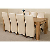 Kuba Chunky Solid Oak 220 cm with 8 Ivory Lola Leather Chairs