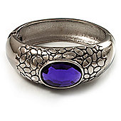 Rhodium Plated Purple Oval Glass Hinged Bangle - 18cm Length
