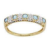 Gemondo 9ct Yellow Gold 0.27ct Blue Topaz & 2pt Diamond Half Eternity Band Ring