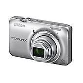 DS Nikon Coolpix S6300 3D Camera Silver 16MP 10xZoom 2.7LCD FHD 25mm Wide Lens