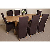 Seattle Solid Oak Extending 150 - 210 cm Dining Table with 8 Brown Lola Fabric Chairs