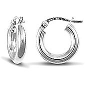 Jewelco London 9ct White Gold elegant 3mm hoop Earrings