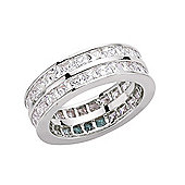 Jewelco London Rhodium-Coated Sterling Silver Eternity Ring Size