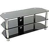 AVF Universal Black Glass and Chrome Legs TV Stand For up to 55 inch TVs