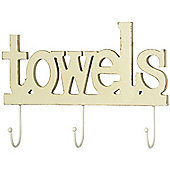 Towels - 3 Wall Hanging Hooks - Cream