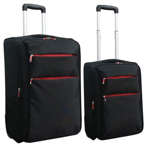 Tesco 2-Wheel Ultra Lightweight Suitcase, Black Set of 2