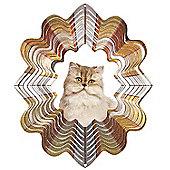Iron Stop Designer Glitter Persian Cat Wind Spinner 10in