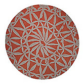 Esprit Oriental Lounge Burnt Orange Tufted Rug - Round 100 cm x 100 cm (3 ft 3 in x 3 ft 3 in)