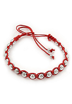 Plaited Red Cotton Cord With Silver Tone Bead Friendship Bracelet - Adjustable