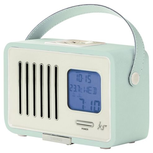 buy kitsound swing portable fm radio with alarm clock blue from our portable radio range tesco. Black Bedroom Furniture Sets. Home Design Ideas