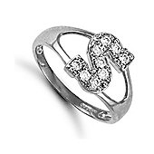 Silver Cubic Zirconia Identity ID Initial Signet Ring Letter S