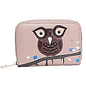 Pink Owl Applique Zip Up Purse