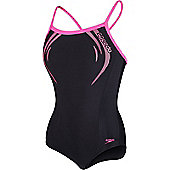 Speedo Girls Sports Logo Thinstrap Muscleback Swimsuit - Black
