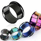Urban Male Pack of Four Titanium Anodised Ear Stretching Flesh Tunnels Double Flared 6mm