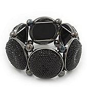 Glittering Black Circle Flex Bracelet In Gun Metal - 20cm Length