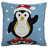 Knitted Penguin Cushion