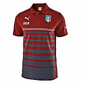 2014-15 Italy Puma Hooped Polo Shirt (Red) - Red
