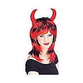 Rubies Fancy Dress - BI-Colour Wig with Horns - Black/Red