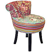 Roses - Shabby Chic Stool / Fan Back Chair With Wood Legs - Multi-coloured