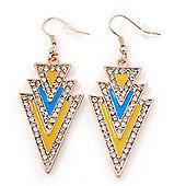 Yellow, Light Blue Enamel Crystal Triangular Drop Earrings In Gold Plating - 60mm Length