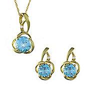 Gemondo 9ct Yellow Gold Blue Topaz & Diamond Classic Stud Earring & 45cm Necklace Set