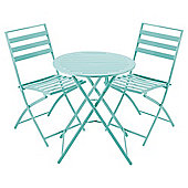 Milan Folding Metal Bistro Set, Aqua