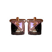 Calisto Pink Dichroic Glass Cufflinks by Connell and Hart