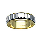 Jewelco London Bespoke Hand-Made 9 carat Yellow & White Gold 6mm Two Piece Wedding Ring with Spinning Center Band.