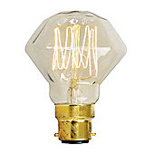 Designer Clear Diamond Squirrel Cage Bulb BC Cap 40w