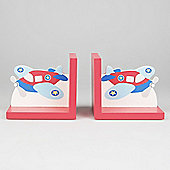 Flying - Wooden Airplane Themed Childrens Bookends - Red / Blue