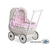 Handmade Girls Dolls Pram White Wicker - Pink