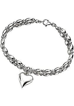 Sterling Silver Bead Heart Charm Bracelet