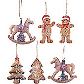 Set of 6 Hanging Gingerbread Christmas Tree Decorations
