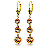 QP Jewellers 7.20ct Citrine Trinity Leverback Earrings in 14K Gold