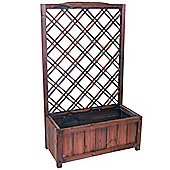 Mesh - Solid Wood Rustic Trellis Screen With Large Planter - Brown