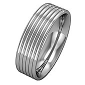 18ct White Gold - 6mm Essential Flat-Court Ribbed Bevelled Band Wedding Commitment / Wedding Ring -