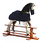 Grey Rocking Horse Misty With Blue Rug and Nose Bag