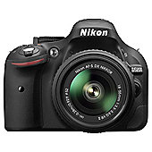 "Nikon D5200 Digital SLR, Black, 24.2MP, 3"" LCD Screen, 18-55 VR II Lens"