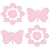 Butterfly and Flower, 4 Large Stickers