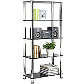 VonHaus 5 Tier Black Glass Shelving Unit with Sturdy Chrome Tube Legs & Tempered Glass