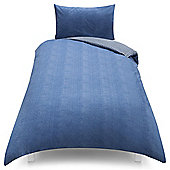 Chambray and Check Reversable Single Duvet Set -Blue