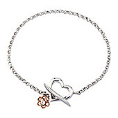 Silver and 9ct Rose Gold Love Story T Bar Bracelet