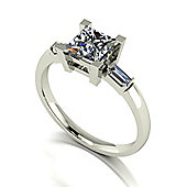 18ct White Gold 5.5mm Square Brilliant Moissanite Solitaire and Baguette Set Moissanite Shoulders
