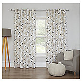 Poppy Printed Lined Eyelet Curtains - Natural - 66 X 54